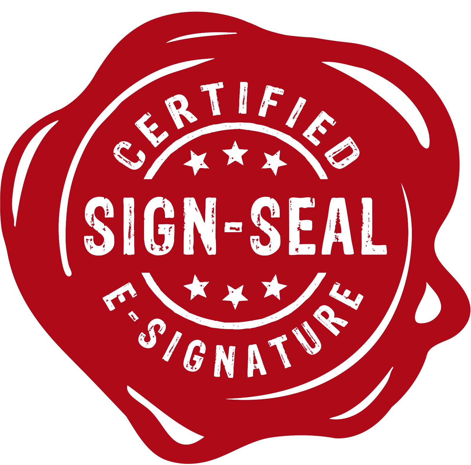 Sign seal red with white